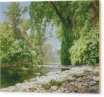 Wooded Riverscape Wood Print by Leopold Rolhaug