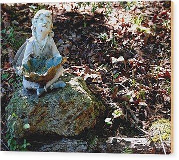 Woodland Fairy Wood Print by Sharon Blanchard