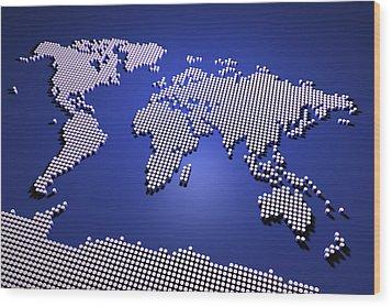 World Map In Blue Wood Print by Michael Tompsett