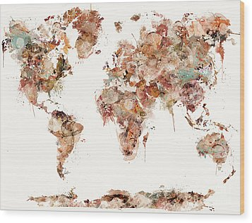 Wood Print featuring the painting World Map Watercolors by Bri B