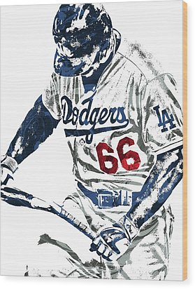 Yasiel Puig Los Angeles Dodgers Pixel Art Wood Print by Joe Hamilton