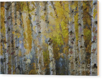 Yellow Aspens Wood Print by Marilyn Sholin