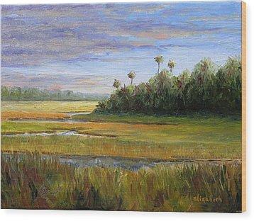 Yellow Marsh Wood Print by Beth Maddox