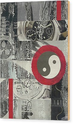 Wood Print featuring the mixed media Ying Yang by Desiree Paquette