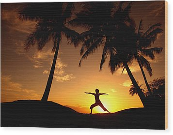 Yoga At Sunset Wood Print by Ron Dahlquist - Printscapes