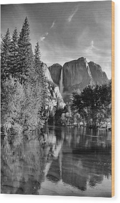 Wood Print featuring the photograph Yosemite Falls Spring Reflections by Stephen  Vecchiotti
