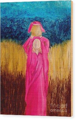 Young Girl Giving Prayer Wood Print by Ayasha Loya