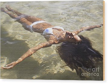Young Woman In The Water Wood Print by Brandon Tabiolo - Printscapes