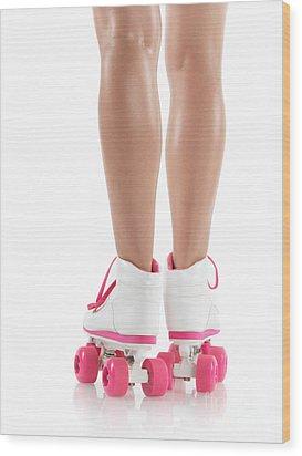 Young Woman Wearing Roller Derby Skates Wood Print by Oleksiy Maksymenko