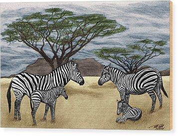 Zebra African Outback  Wood Print