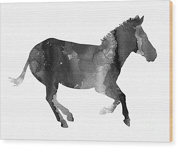 Zebra Watercolor Art Print Painting Wood Print by Joanna Szmerdt