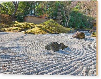 Zen Garden At A Sunny Morning Wood Print
