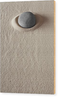 Zen Meditation Stone Wood Print