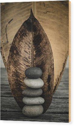Zen Stones II Wood Print by Marco Oliveira