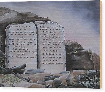 10 Commandments Wood Print by RJ McNall