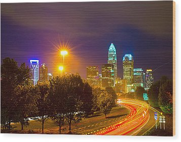 Downtown Of Charlotte  North Carolina Skyline Wood Print by Alex Grichenko