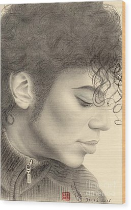 Wood Print featuring the drawing Michael Jackson #four by Eliza Lo