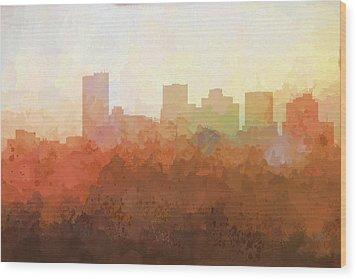 Wood Print featuring the digital art Phoenix Arizona Skyline by Marlene Watson