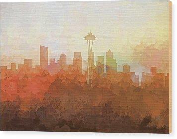 Wood Print featuring the digital art Seattle Washington Skyline by Marlene Watson