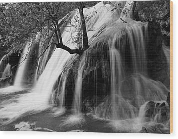 Turner Falls Wood Print by Iris Greenwell