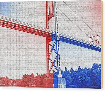 1000 Island International Bridge 2 Wood Print by Steve Ohlsen