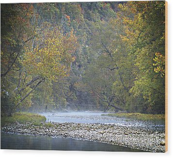 1010-3979 Buffalo River Boxley Valley Fall Wood Print by Randy Forrester