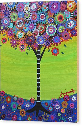 Tree Of Life Wood Print by Pristine Cartera Turkus