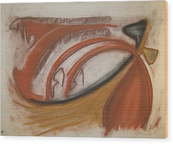 Wood Print featuring the pastel 107 by Stefan Hermannsson