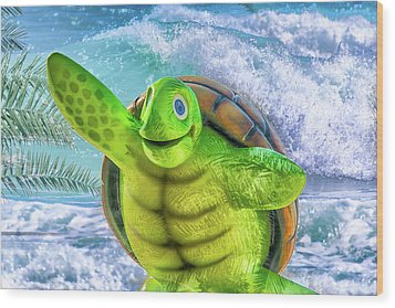 10731 Myrtle The Turtle Wood Print by Pamela Williams