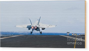 An Fa-18e Super Hornet Launches Wood Print by Stocktrek Images