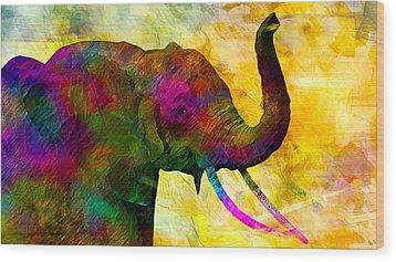 Elephant Wood Print by Elena Kosvincheva