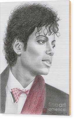 Wood Print featuring the drawing Michael Jackson #five by Eliza Lo