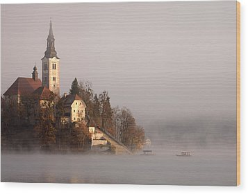 Misty Lake Bled Wood Print by Ian Middleton