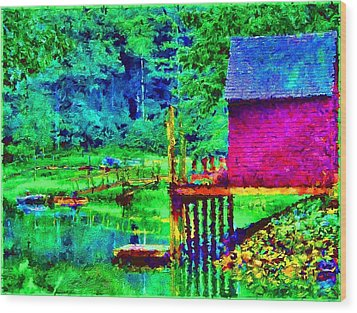 11052008a  Boat House On The Inlet Wood Print by Ed Immar