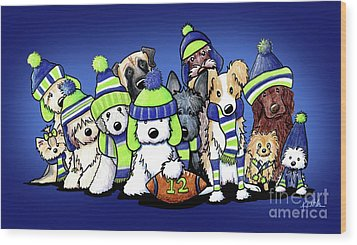 12 Dogs On Blue Wood Print by Kim Niles