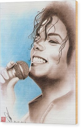 Wood Print featuring the drawing Michael Jackson #six by Eliza Lo