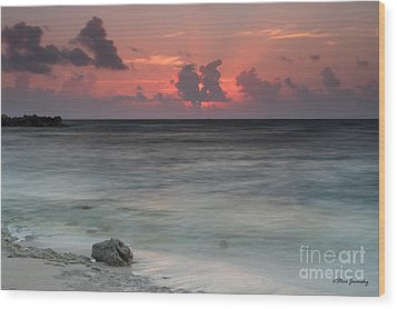 Sea Scape Sunrise Wood Print