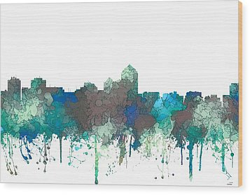 Wood Print featuring the digital art Albuquerque New Mexico Skyline by Marlene Watson