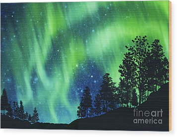 Wood Print featuring the photograph Aurora Borealis by Setsiri Silapasuwanchai