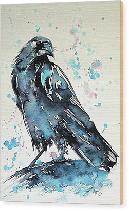 Wood Print featuring the painting Crow by Kovacs Anna Brigitta