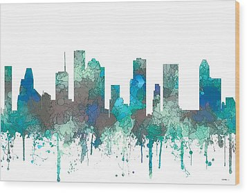 Wood Print featuring the digital art Houston Texas Skyline by Marlene Watson