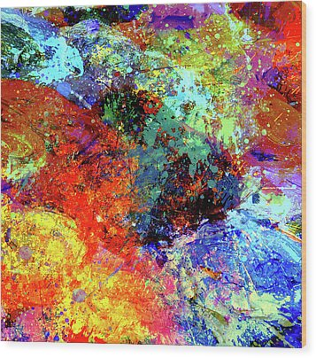 Wood Print featuring the painting Abstract Composition by Samiran Sarkar