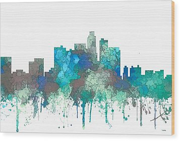Wood Print featuring the digital art Los Angeles California Skyline by Marlene Watson