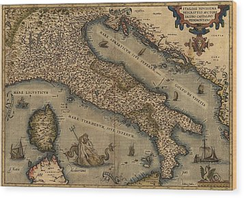 1570 Map Of Italy  From Abraham Wood Print by Everett