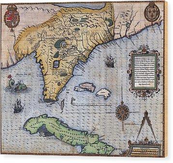 1591, Exploration Era Map Of Florida Wood Print by Everett