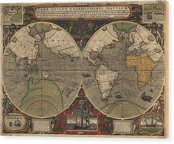 1595 World Map Shows Routes Wood Print by Everett