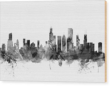 Chicago Illinois Skyline Wood Print by Michael Tompsett