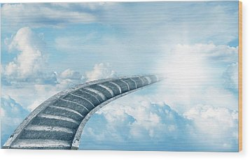 Wood Print featuring the digital art Stairway To Heaven by Les Cunliffe