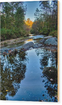 Stone Mountain North Carolina Scenery During Autumn Season Wood Print by Alex Grichenko