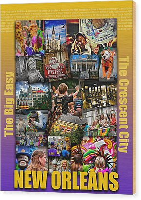 16x20 New Orleans Poster Wood Print by Jim Albritton